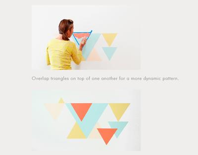 Pintar pared con estampado geométrico