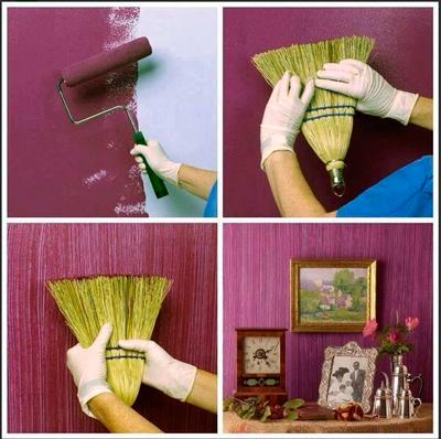 Pintar pared con estampado textil